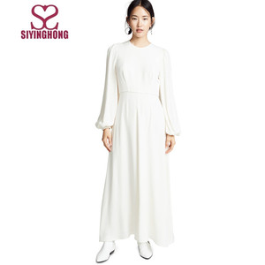 Hot sale simple puff sleeve solid color long women dress