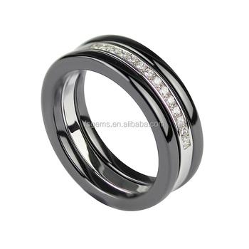 82b7584c8 Última moda estilo italiano anillo de cerámica negro banda anillos de  joyería ...