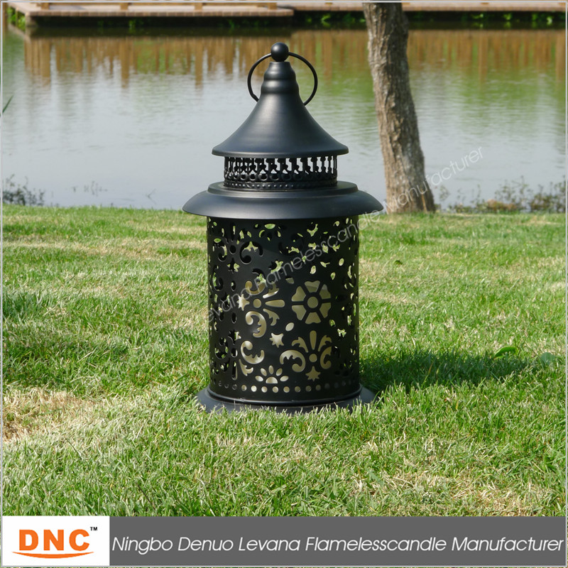 Indoor or outdoor decorative black tower round metal lantern candle holder