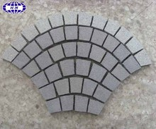 China dark grey light grey mixed granite curved paving stone