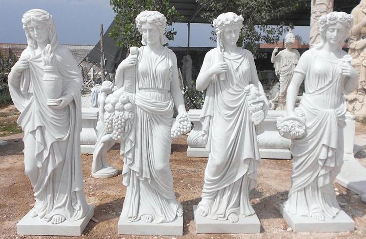 mujer estatua de piedra y escultura cuatro temporada estatua de mrmol para el jardn