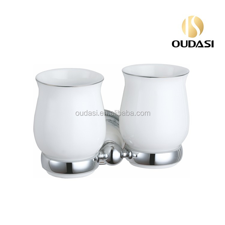 Brass Bathroom Accessories Double Ceramic Drinking Tumbler Candle Holder