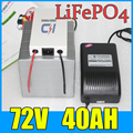 72V 40AH LiFePO4 Battery Pack 3000W Electric bicycle Scooter lithium battery BMS Charger Free Shipping