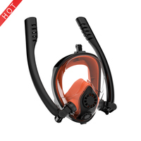 2019 new design scuba diving equipment easy breath dry double tube full face silicone snorkel mask