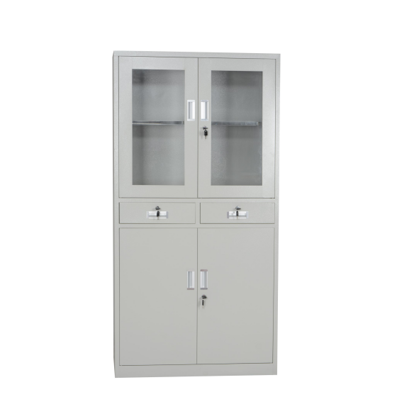 Steel Four Doors with Two Glasses Middle Two Drawers File Cabinet