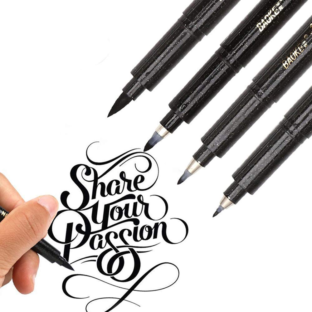 Kqpoinw 4 Piece Brush Pens, Refill Black Ink Marker Pen Calligraphy Pen Set for Beginners Lettering, Writing, Signature, Illustration, Design, Drawing (4 Piece)