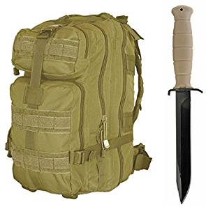 """Glock 78 Sand Tan Field Knife 6.5"""" Length Carbon Steel Blade Polymer Handle Clip Point with Sheath + Ultimate Arms Gear Assault Backpack Bug Out Bag Transport MOLLE"""