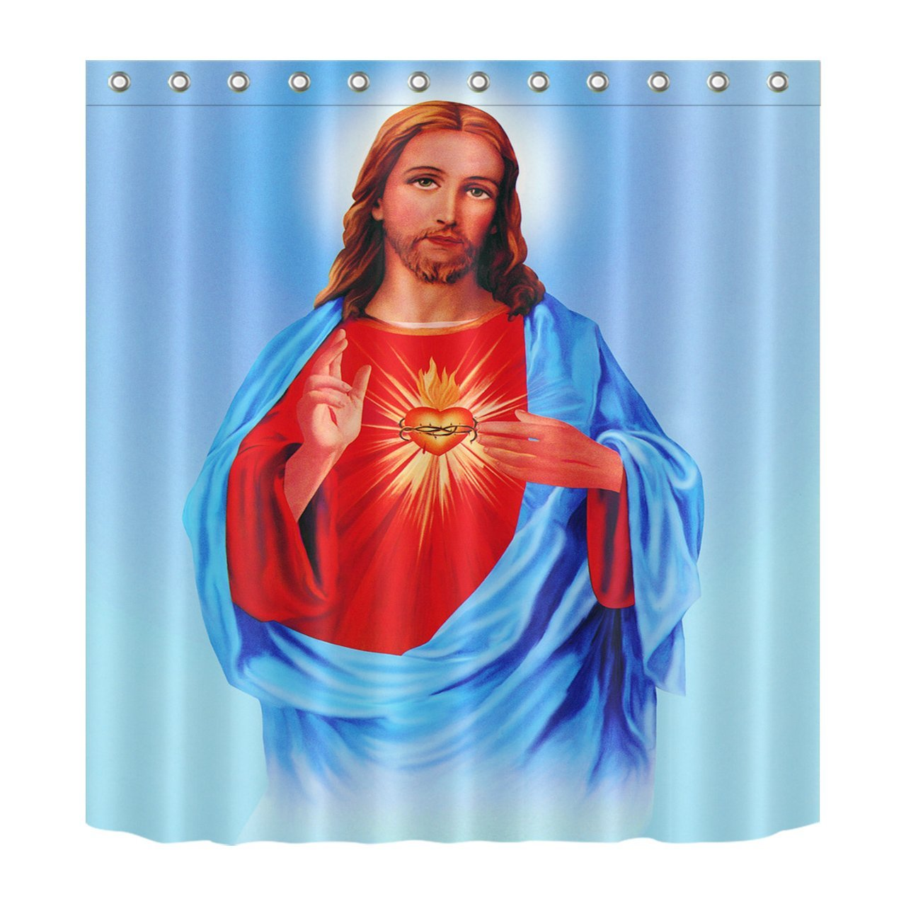 """LB Son of God Jesus Christ Bless Decoration Shower Curtain Polyester Fabric 3D 72x72"""" Mildew Resistant Waterproof Blue Red Merciful Lord Fiery Heart Bathroom Bath Curtains"""