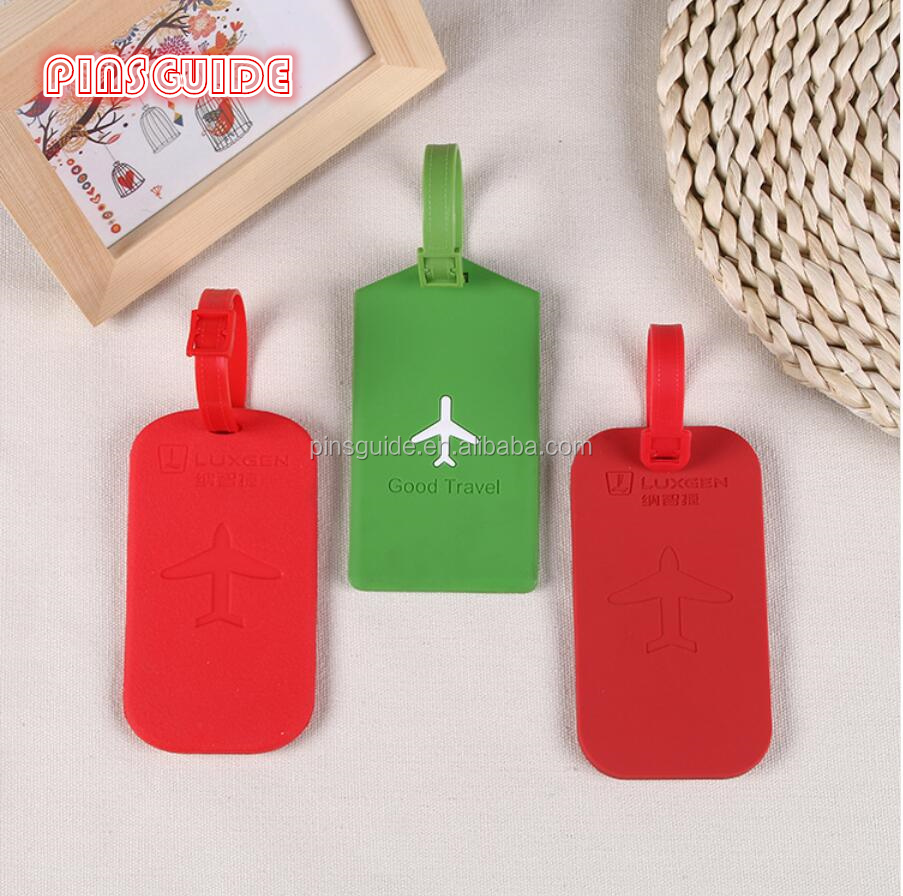 Air plane <strong>logo</strong> 2D soft PVC bag tag for promotional gifts with factory price