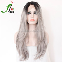 Brazilian Full Lace Wig Ombre Two Tone #1b/gray Human Hair Sew In Weave Straight Human Hair Grey Lace Front Wig for White Women