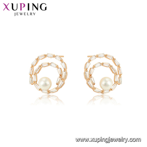 96756 xuping 18K gold color fashion pearl earring designs for women