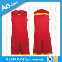 Men's red basketball jersey mesh fabric at side seam quick dry and breathable basketball uniform
