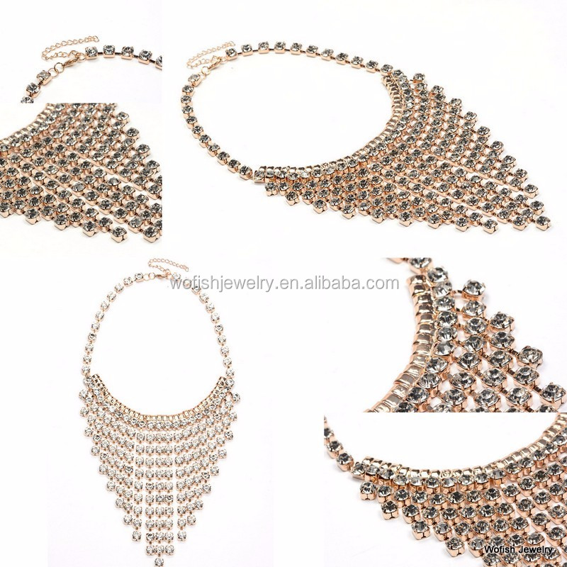 Gold plated outdated pave crystal glitter bib necklace