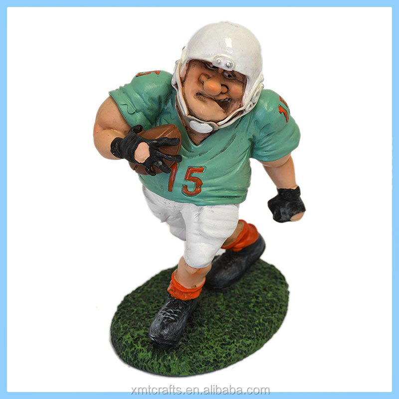 Handpainted Resin Football Player Sports Decor Figurine Statue