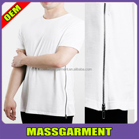 MS-1653 Custom Side Zipper T-Shirts Wholesale Tall Tee Mens White T shirt Extra Long