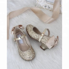 New Arrival Wholesale High Heel Girls Glitter Princess Shoes with Bows