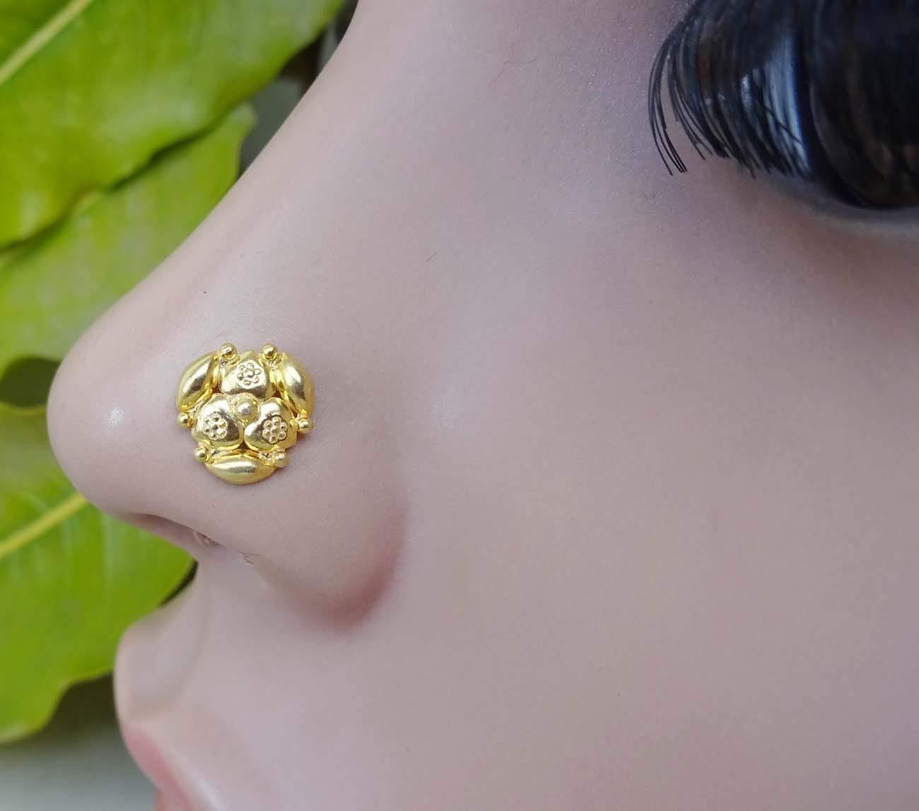 Gold Nose Piercing,Indian Nose Screw,Crock Screw Nose Stud,Indian Nose Stud,925 Sterling Silver nose stud,Gold Nose Screw,Unique Nose Stud,22 G Nose Stud,Gold Nose Pin,Gold Nose Piercing (TEJ078)