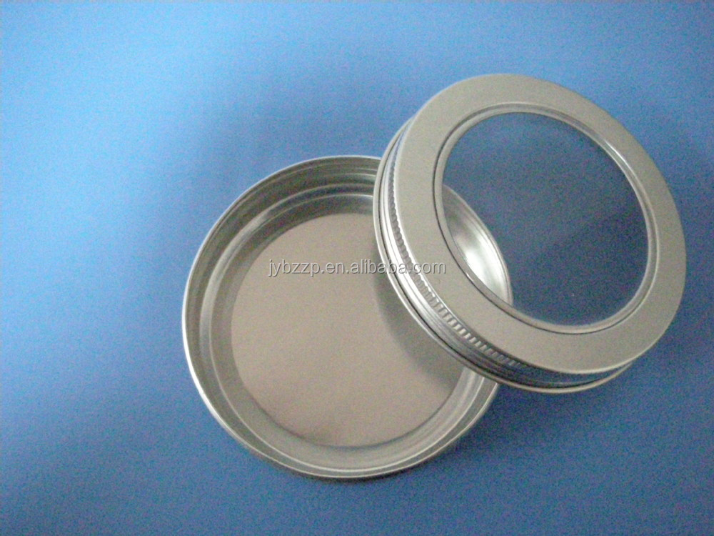 Aluminium jar met clear PVC cap, 100 ml 150 ml aluminium kan met schroefdop, metalen clear top tin