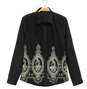 D61847W Chinese folk style wind leisure palace golden Embroidery man's Shirt