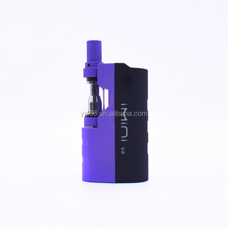 YJS Factory Custom Logo Vapor Box 510 Atomizer Vape Cartridge Preheat <strong>Battery</strong> 350mah 650mah Kit IMINI <strong>V2</strong>