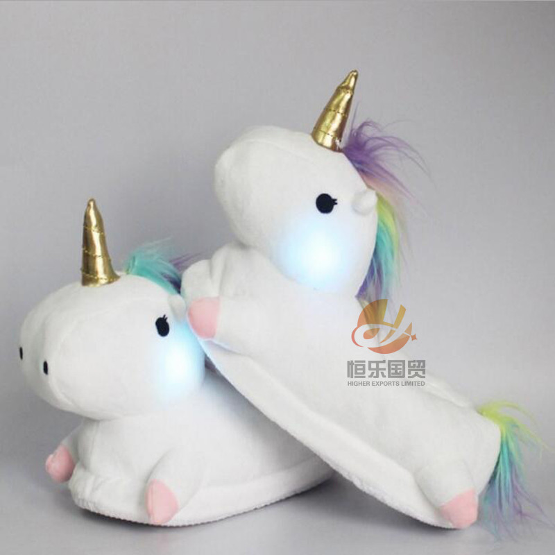 Light Up Unicorn Slippers Kids Girls Unicorn Slippers Cartoon Animal ...
