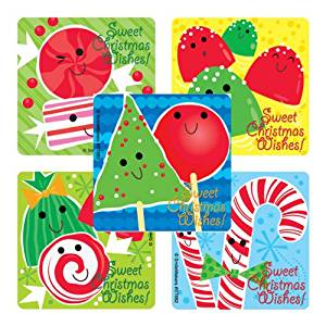 Christmas Peppermint Scented Stickers - Holiday Party Favors & Stocking Stuffers - 75 per pack