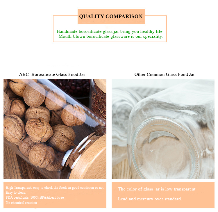 Factory Direct Sale Heat Resistant Borosilicate Glass Food Storage Jar With Bamboo Lid 400ml 650ml 950ml