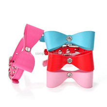 New Style Big Sale Bowknot Rhinestone PU Cat Dog Pet Collars Dog Leads in Stock for Wholesale!