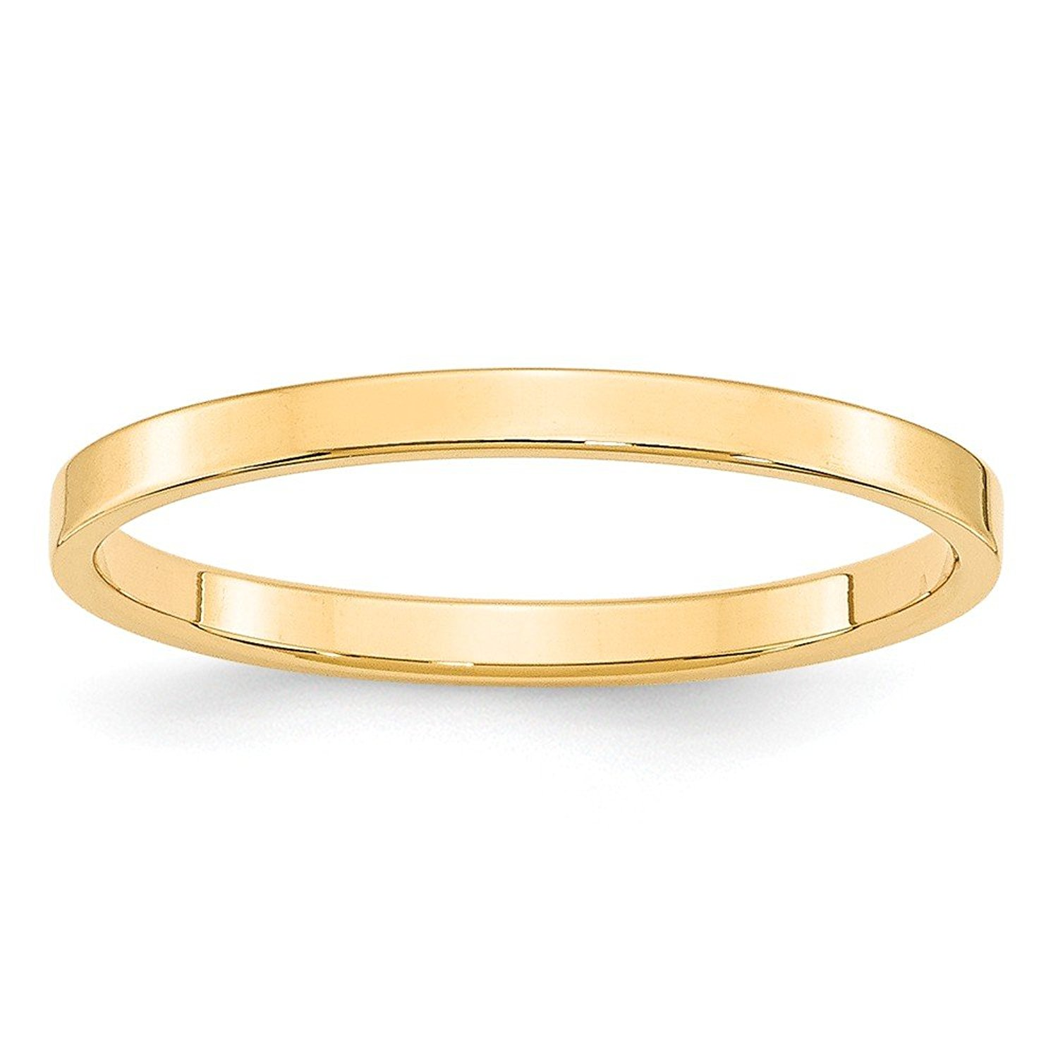 Top 10 Jewelry Gift 14KY 2mm LTW Flat Band Size 8