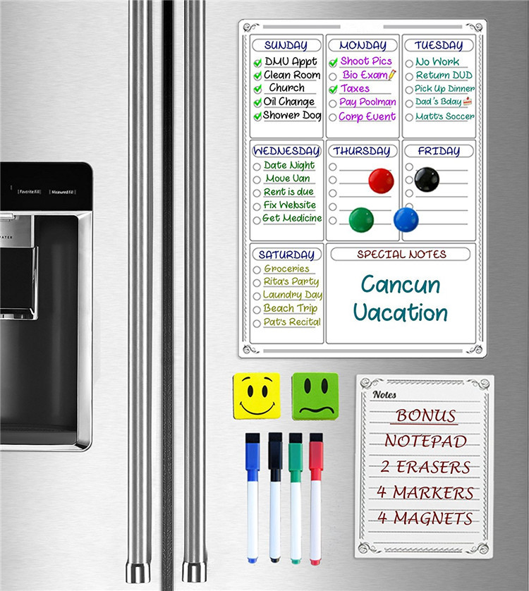 Cntopprint 16 by 11.75 inches Refrigerator Dry Erase Magnetic Weekly Calendar and 6 by 8 inches Note Pad Planner Set
