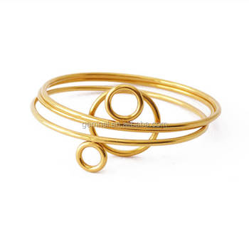 18k Gold Jewelry Unique Stackable Round Single Bangle Design In Gold