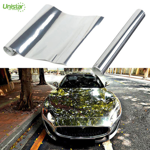 High quality pvc stickers oracal chrome mirror car wrapped vinyl film foil  with silver color air bubble free