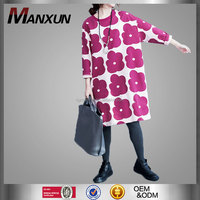 Custom Latest Design Cheap High Quality Apparel Modern Print Dresses Long Sleeve Round Neck Dress Loose Plus Size Coats