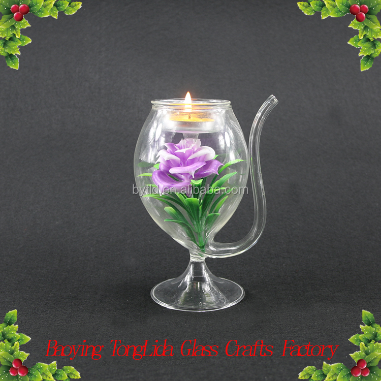 Wholesale glass teapot candle holder with flower ornamnet for home decoration