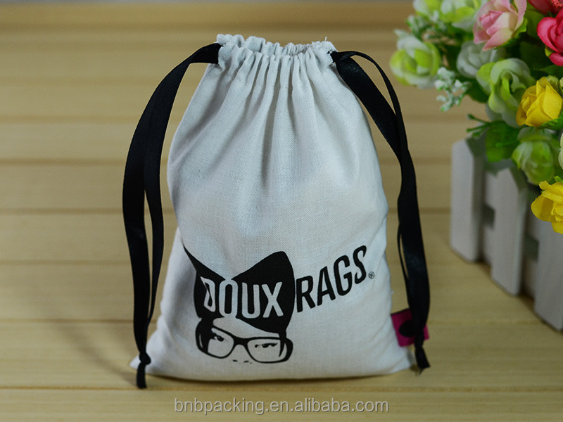 Personalised Drawstring Bags Light Weight Printed Cotton Fabric Pouch for Gift Promotion Candle Candy Coffee Storage
