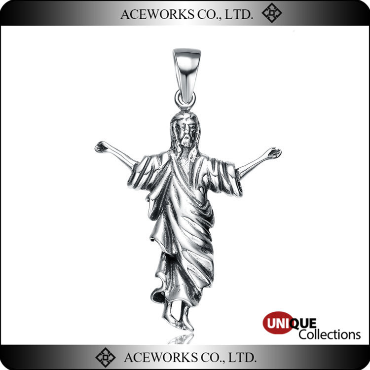 2016 Hot Sale Anitque Silver Jesus Pendants Unique genuine silver Jesus Christ Necklace Pendants