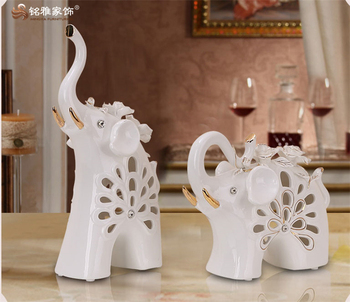 Home Decor Ornament Porcelain White Elephant Sculpture For Table