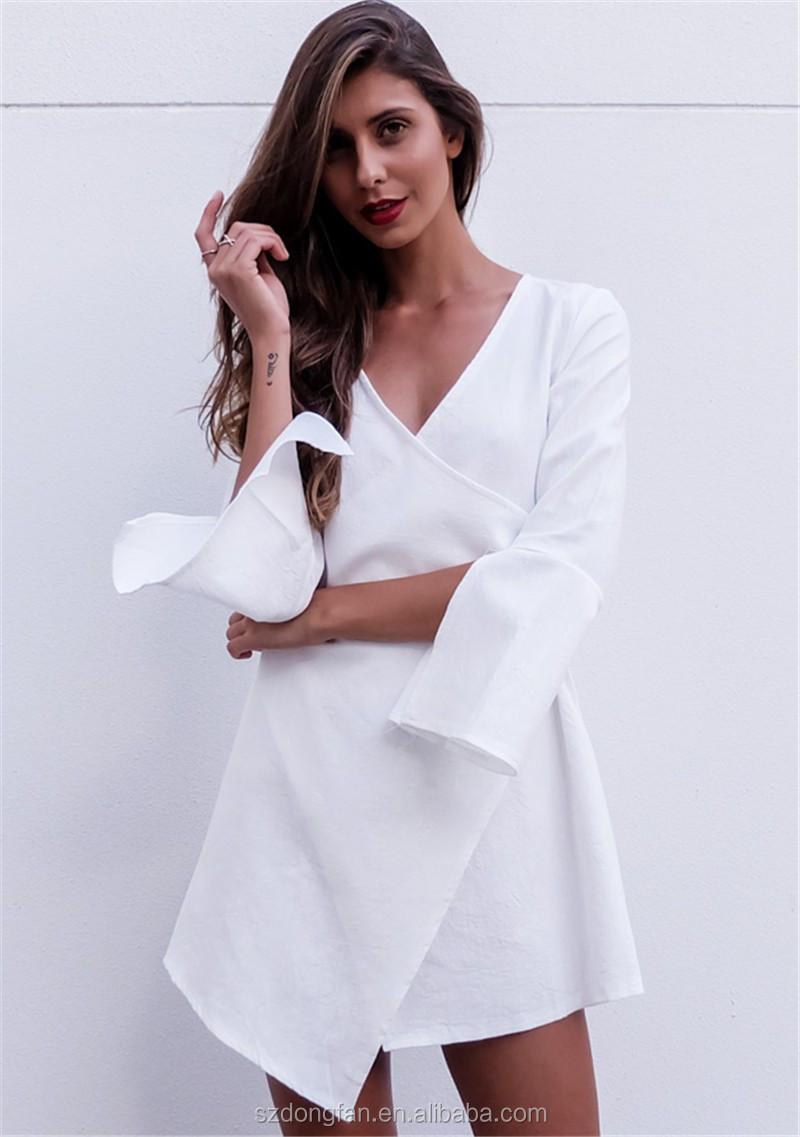 rivenditore di vendita 175c1 dd284 Di Modo Delle Signore Vestiti Di Bianco Asimmetrico Vestito Dal Kimono  Frilling Manicotto Casuale Tessuto Di Lino Abbigliamento Abiti Sexy - Buy  Di ...