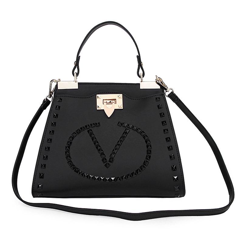 f6c5d2331ded Get Quotations · women Rivet bucket bag fashion genuine leather fashion  elegant handbag