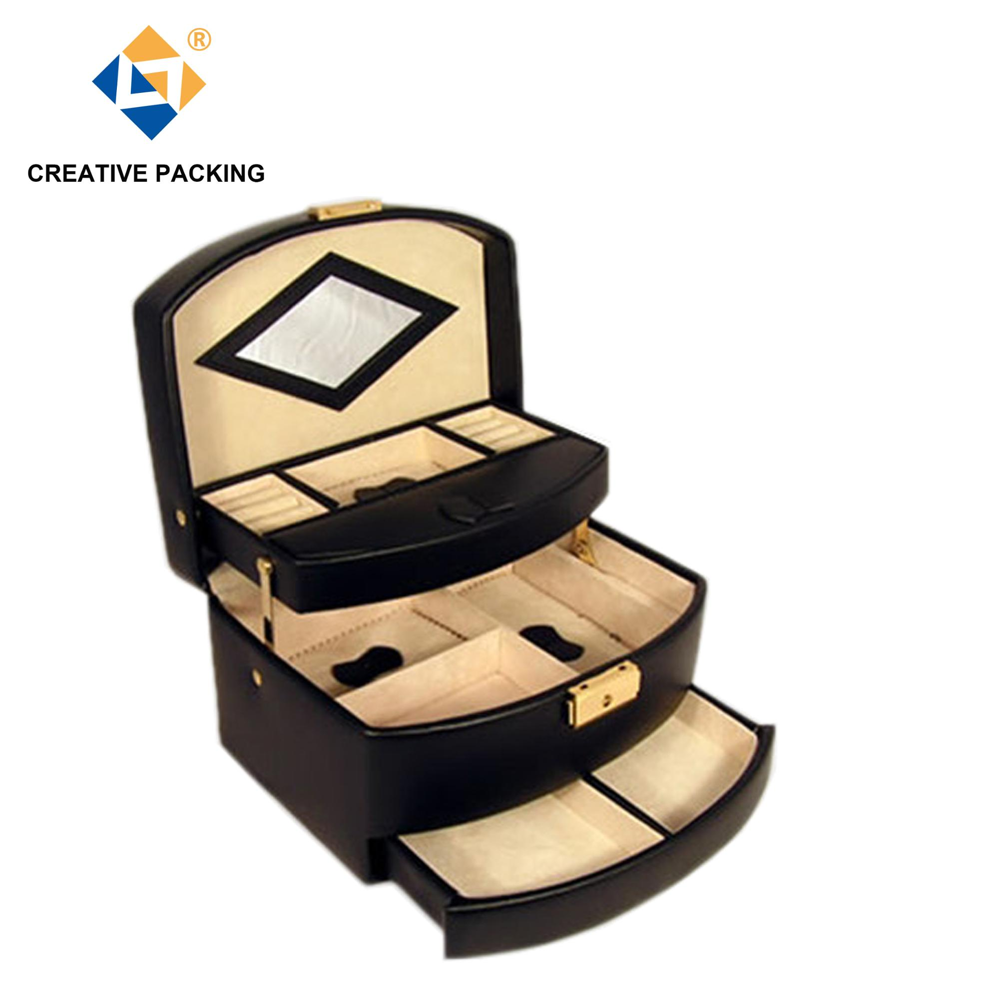 Hot Sale Big Capacity Mirror Leather Black Matte Printed Jewelry Boxes