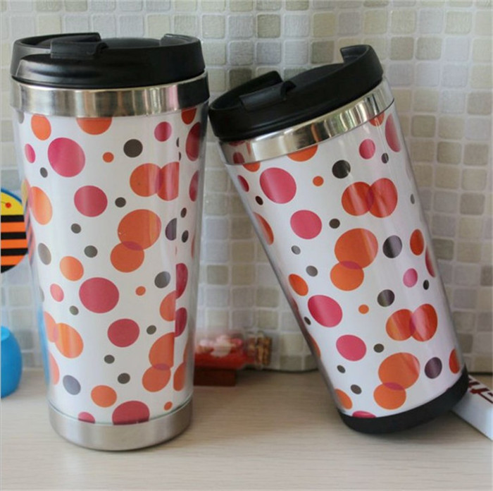500ml Double Wall Plastic with Slip Lid Coffee Mug