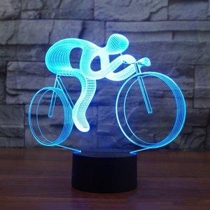 Riding Bike 3D Night LED 7 Color Changing Visual Table Lamp Usb Lampara Bicycle Light Fixture For Children Gift Toys Decor