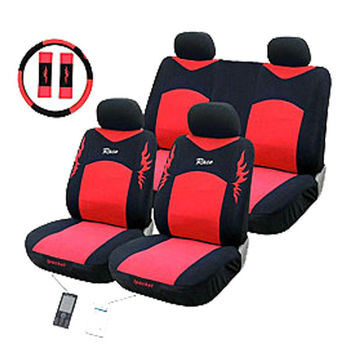 Red And Black Sport Design Embroidery Flame Car Seat Covers With Steering Wheel Cover