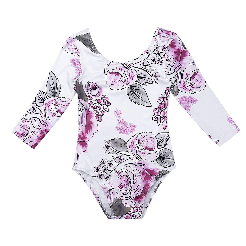 Freebily Infant Baby Girls Long Sleeves Romper Jumpsuit Floral Printed Bodysuit