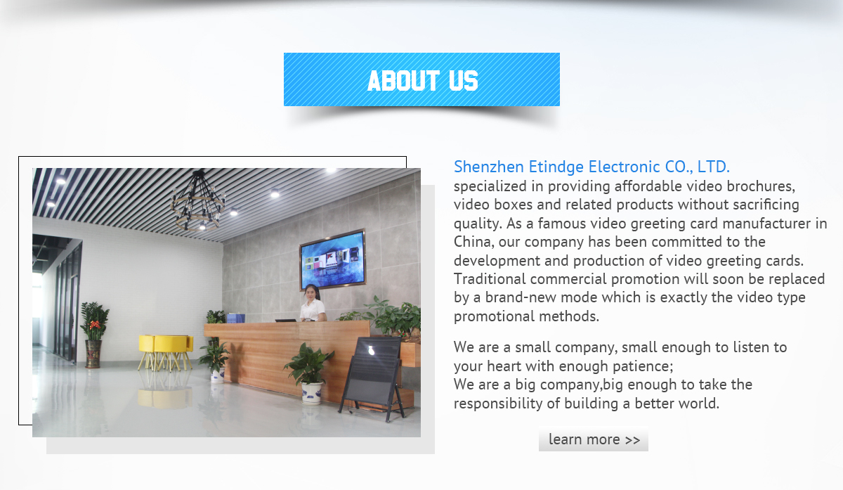Shenzhen Etindge Electronic Co Ltd Video Brochure