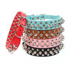 Pet Dog Rivet Studded Adjustable PU Leather Pet Collars For Dogs Cats