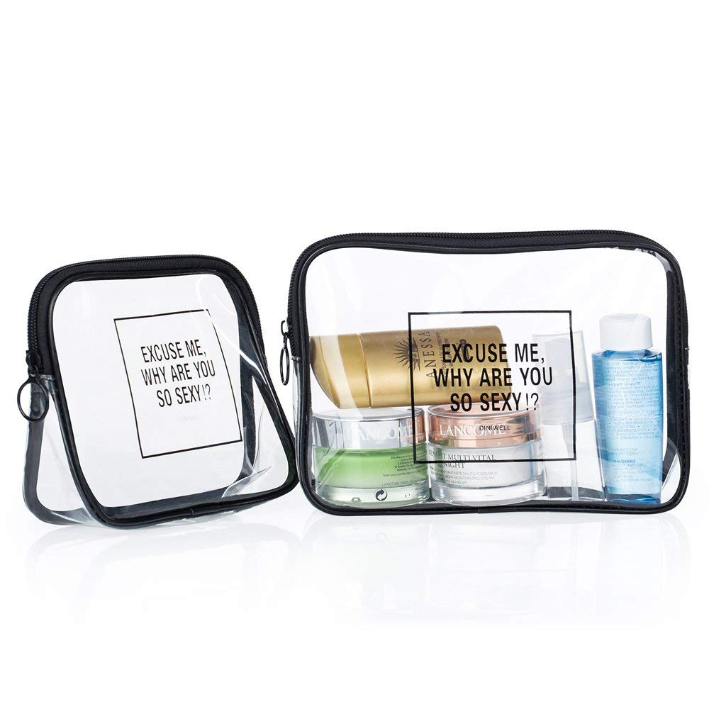 7820a8893058 Get Quotations · 2 Packs Kit Clear Travel Toiletry Bag Airport Airline  Compliant Bag Quart Sized with Zipper Travel