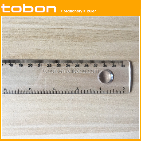 30cm long with round magnifying glass straight plastic ruler