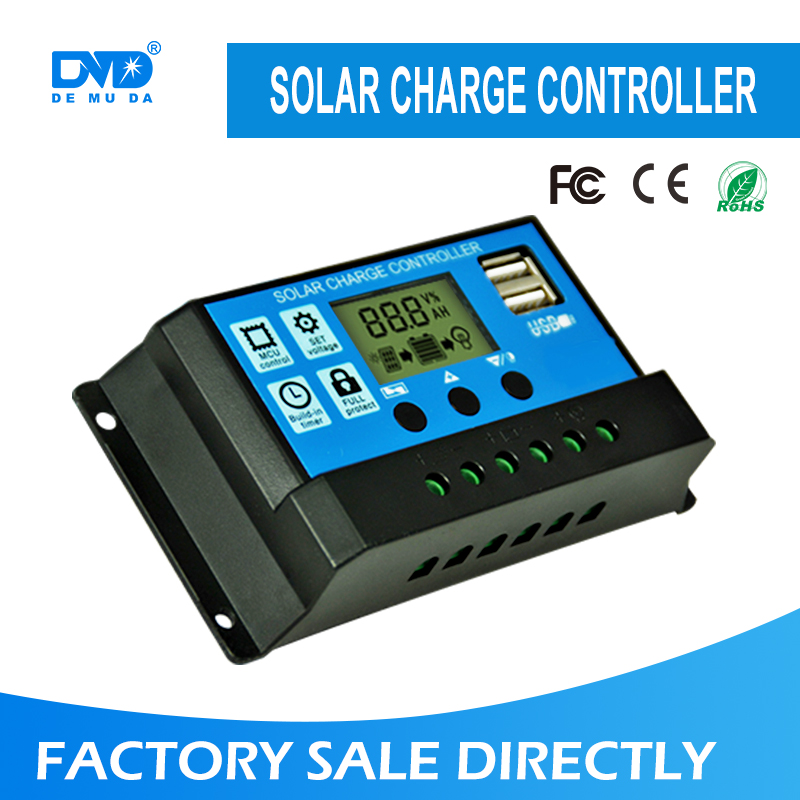 Promotion price ce rohs intelligent manual 20A amp wind solar hybrid USB PWM solar charge controller