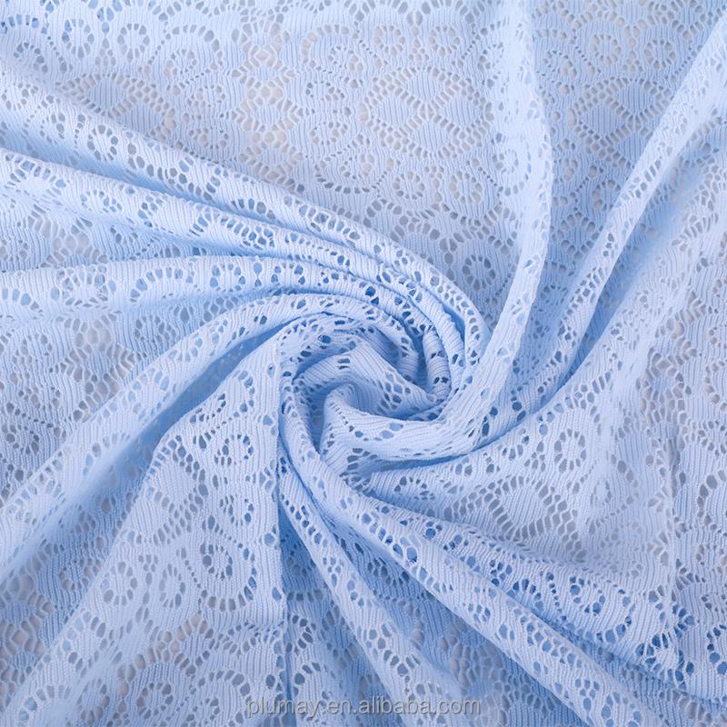 Polyester Nylon Yang Baik Tahan Luntur Desain Tekstil Raschel Tali Renda Kain untuk Gaun Pengantin